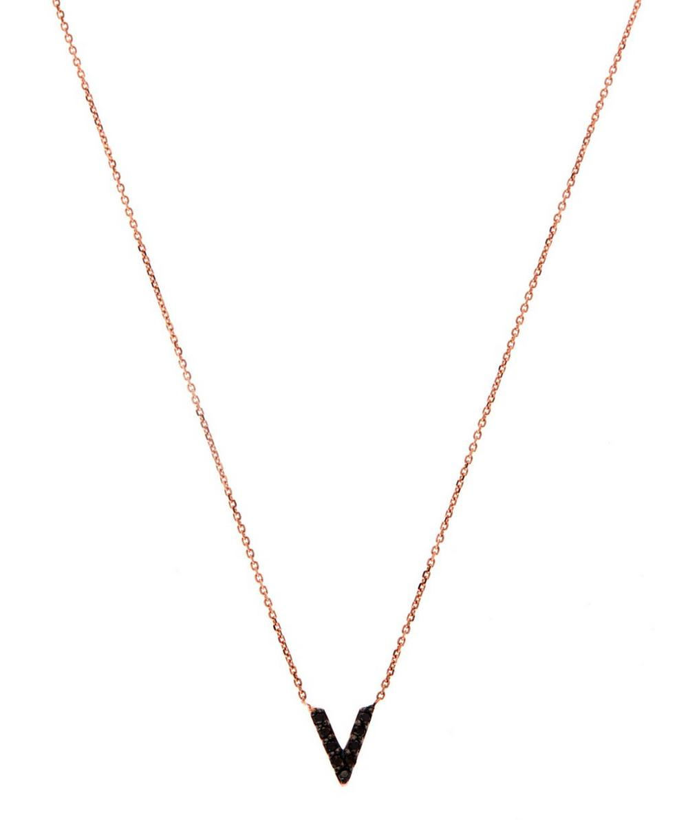 Rose Gold Black Diamond Letter V Necklace