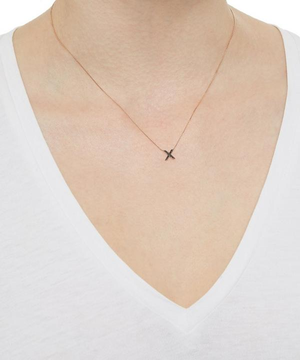 Rose Gold Black Diamond X Initial Necklace