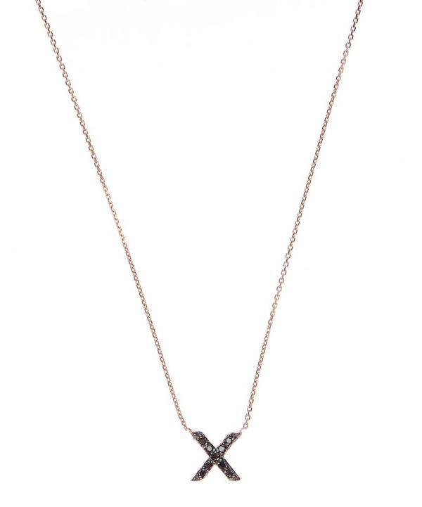Rose Gold Black Diamond X Initial Necklace