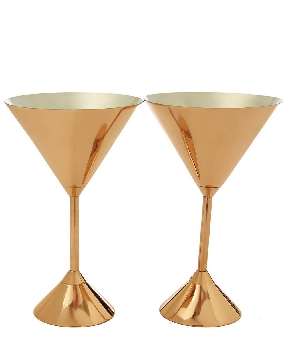 Copper-Plated Plum Martini Glass Set