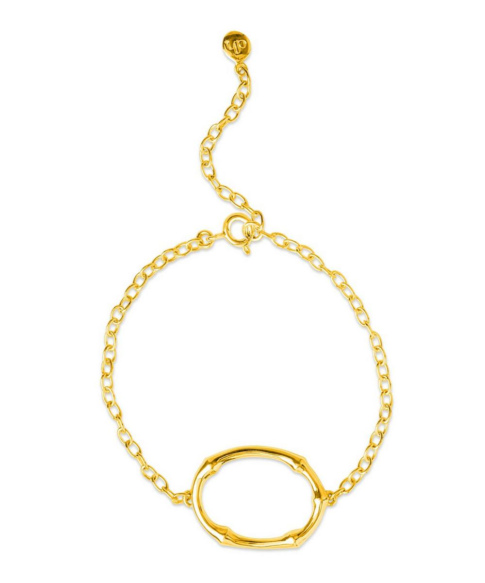 Gold-Plated Bamboo Oval Bracelet