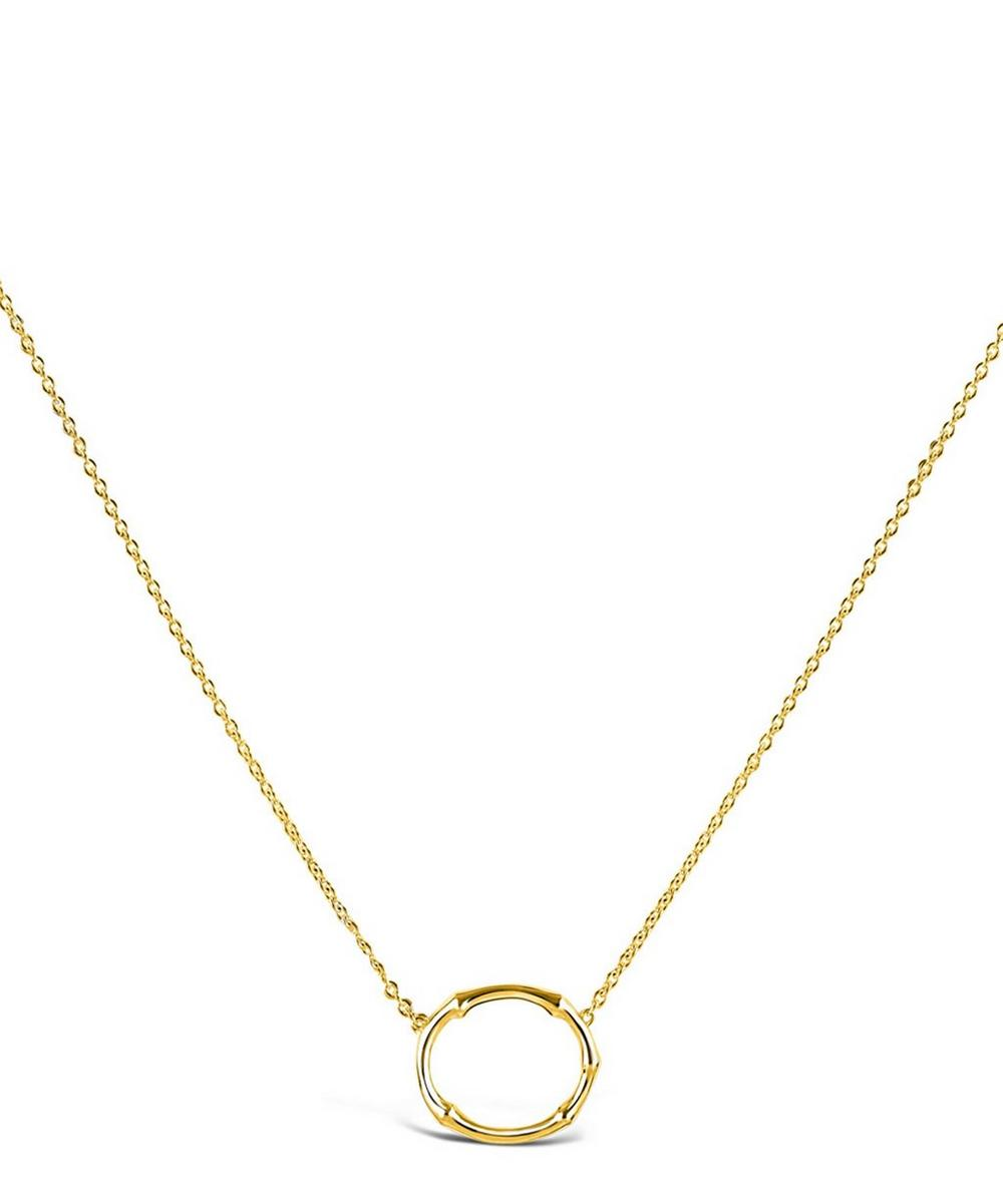 Gold-Plated Bamboo Oval Pendant Necklace