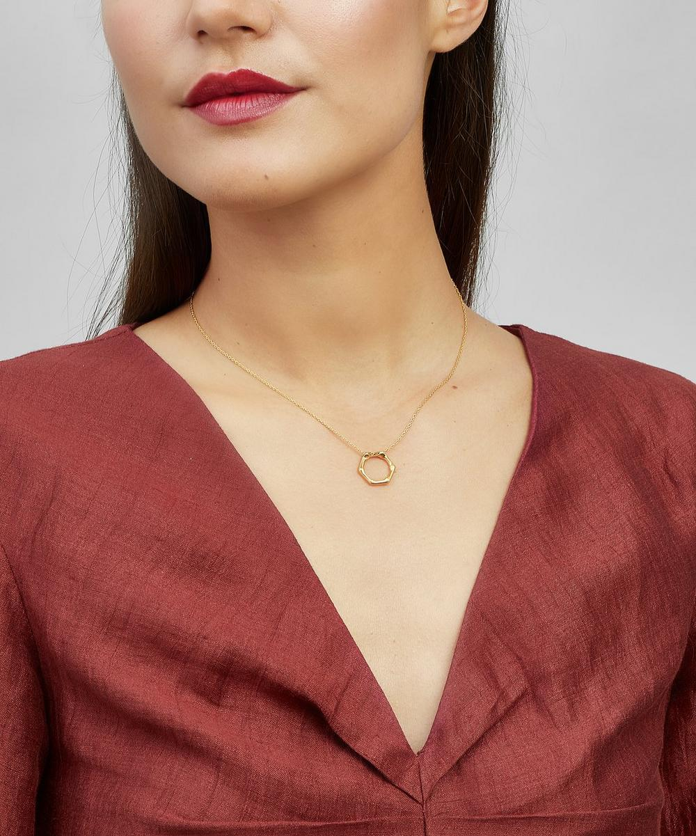 Gold-Plated Bamboo Round Slide Pendant Necklace