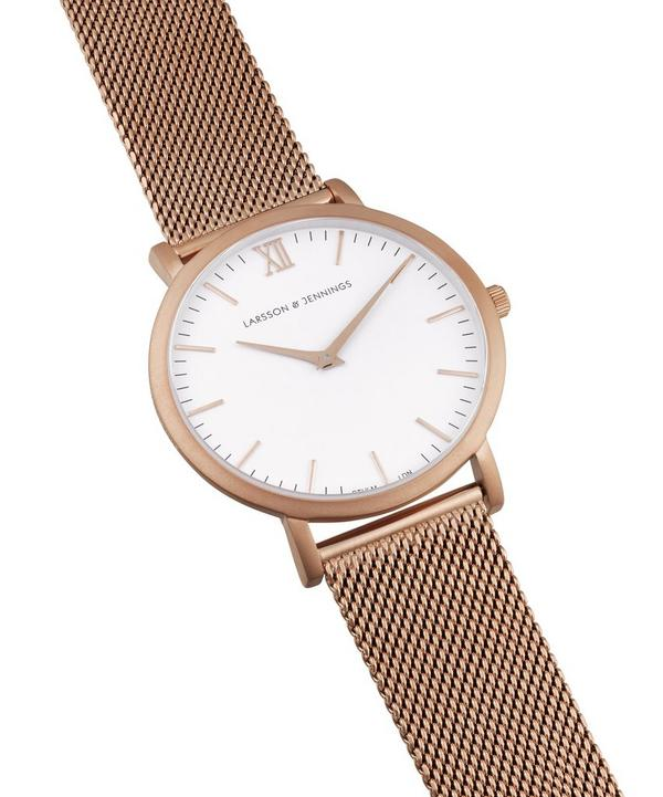 Lugano 40mm Rose Gold-White Milanese Watch