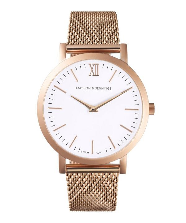 Lugano 33mm Rose Gold-White Milanese Watch