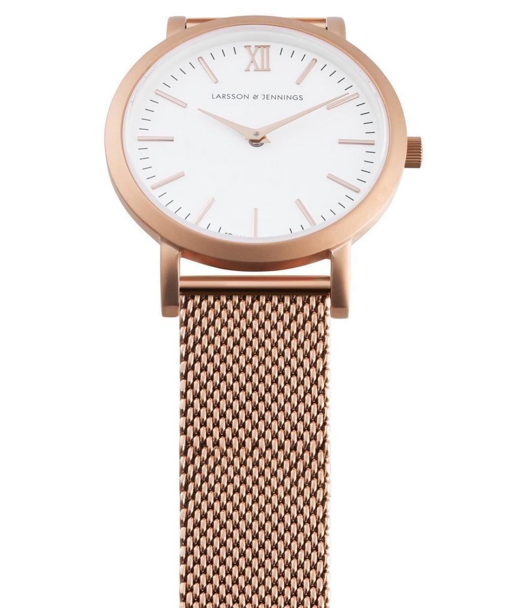Lugano 33mm Rose Gold-White Milanese Watch