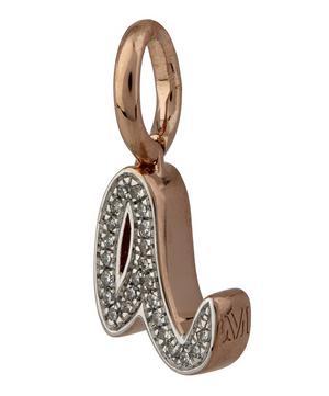 Rose Gold-Plated Alphabet Diamond A Pendant