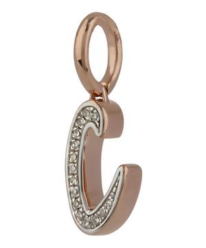 Rose Gold-Plated Alphabet Diamond C Pendant