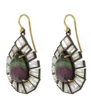 Gold Ruby Zoisite and Labradorite Drop Earrings
