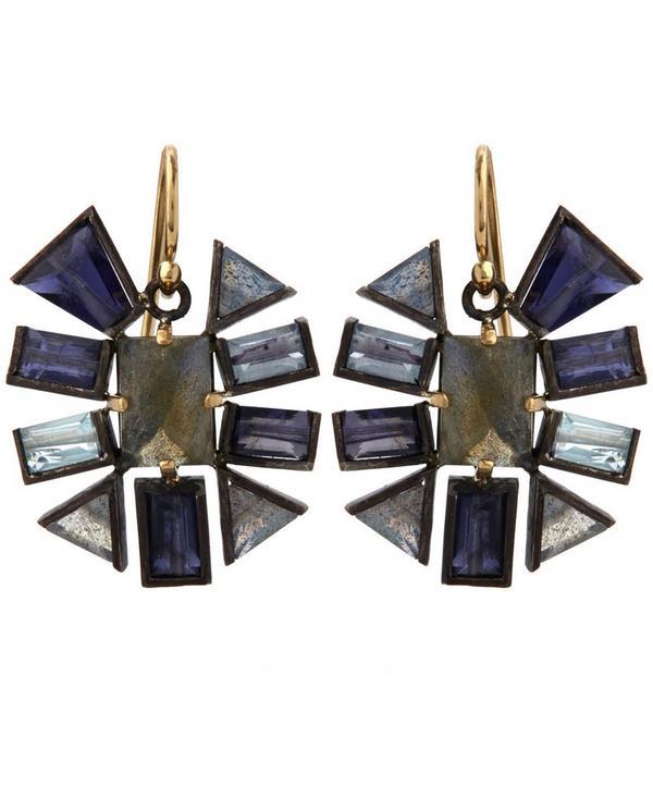 Mixed Gemstone Starburst Earrings
