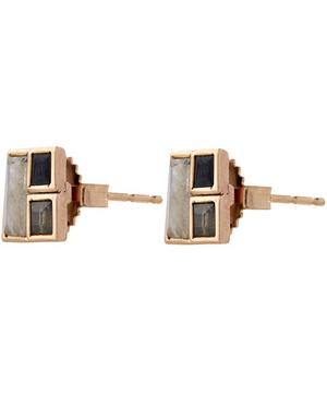 Rose Gold Black Spinel Labradorite and Rainbow Moonstone Earrings