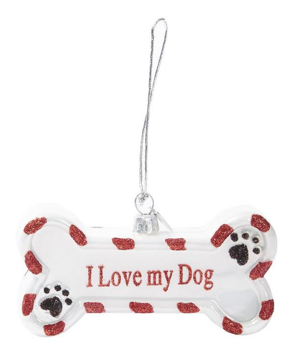 I Love My Dog Glass Bone Decoration