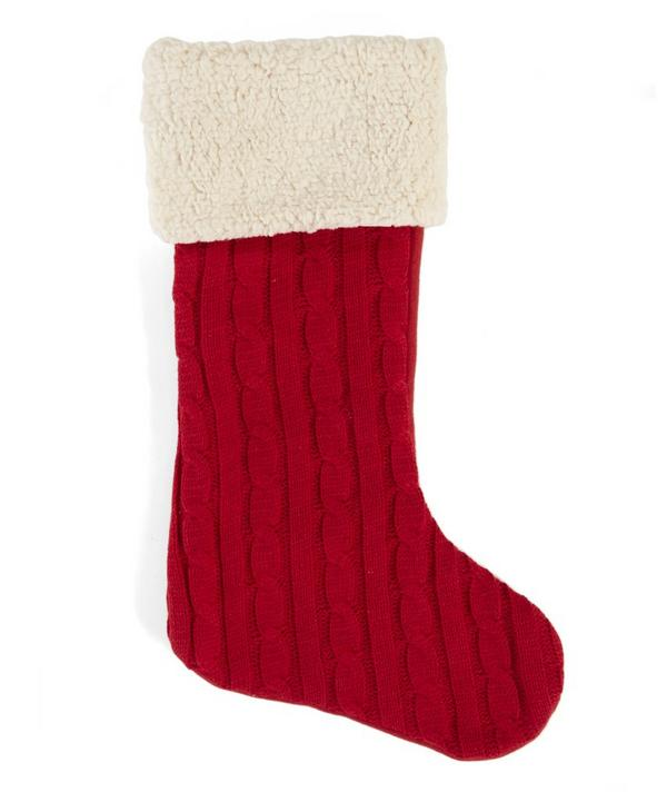 Cable Knit Fleece Trimmed Stocking
