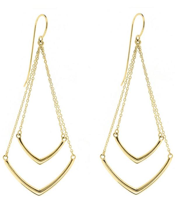 Gold-Plated Cushion Tiered Chevron Earrings