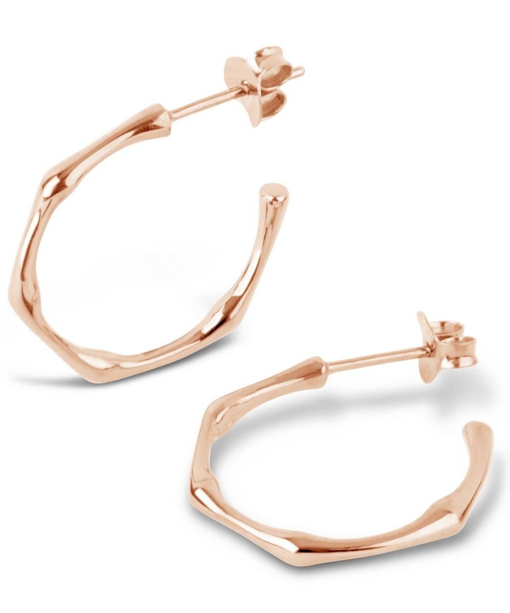 Small Rose Gold-Plated Bamboo Hoop Earrings