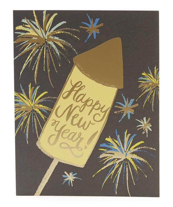 Foiled Rocket Happy New Year Card