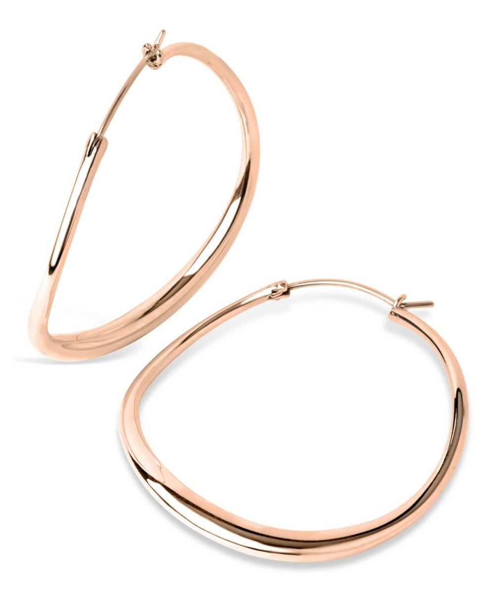 Large Rose Gold-Plated Wave Hoop Earrings