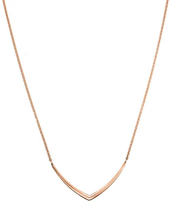 Rose Gold-Plated Cushion Chevron Necklace