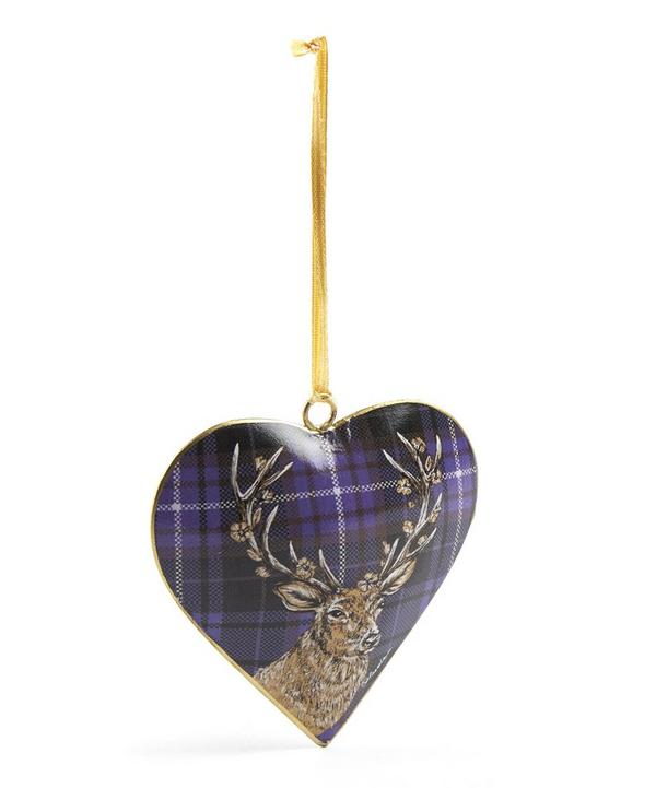 Tinker Tailor Tartan Stag Heart Tree Decoration