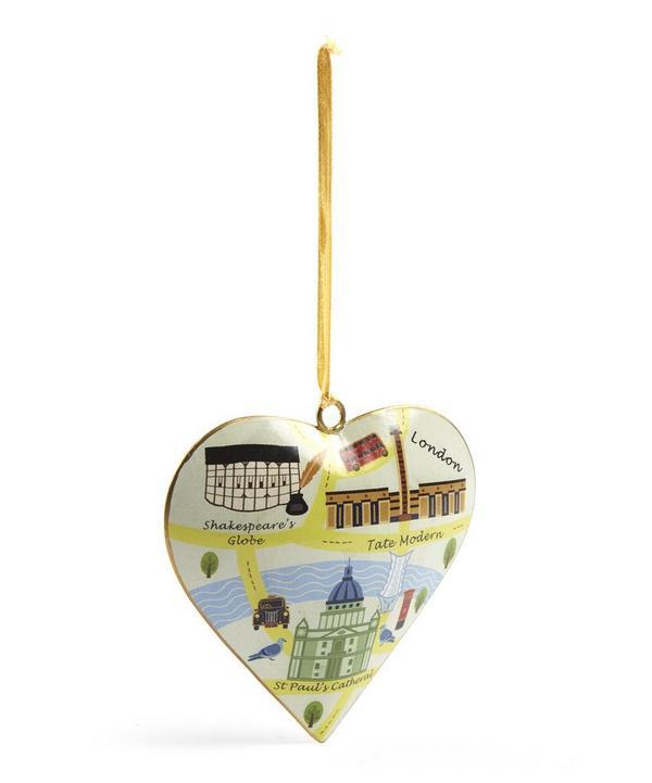 Vintage London Map St Paul's Heart Tree Decoration