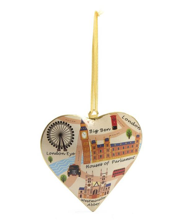 Vintage London Map Westminster Abbey Heart Tree Decoration