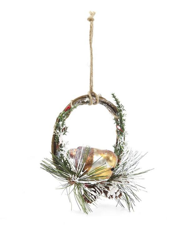 Glass Robin On Wreath Decoration