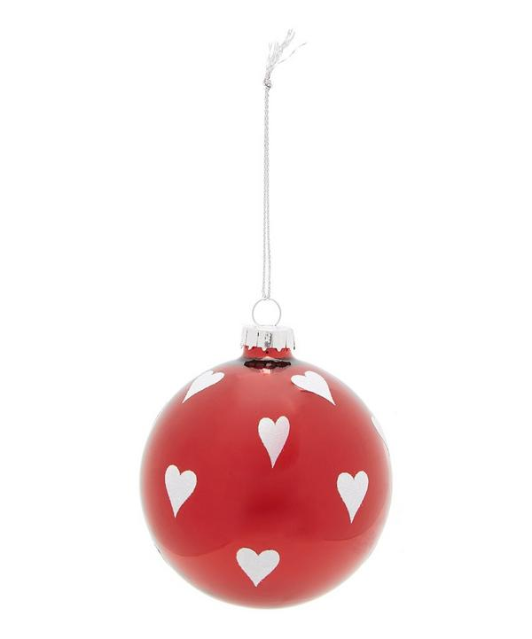 Heart Printed Glass Bauble