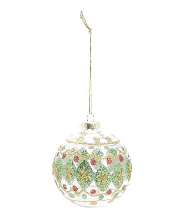 Festive Patterned Glitter Glass Bauble
