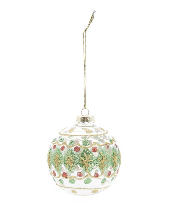 Festive Patterned Glitter Glass Bauble