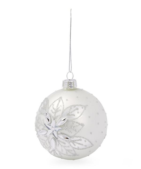 Matte Snowflake Embellished Bauble