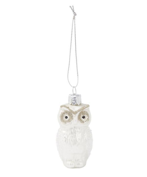 Matte Glass Owl Tree Decoration
