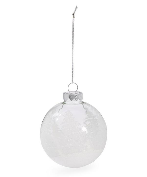 Glitter Winter Scene Glass Bauble