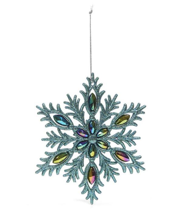 Glitter Peacock Snowflake Decoration