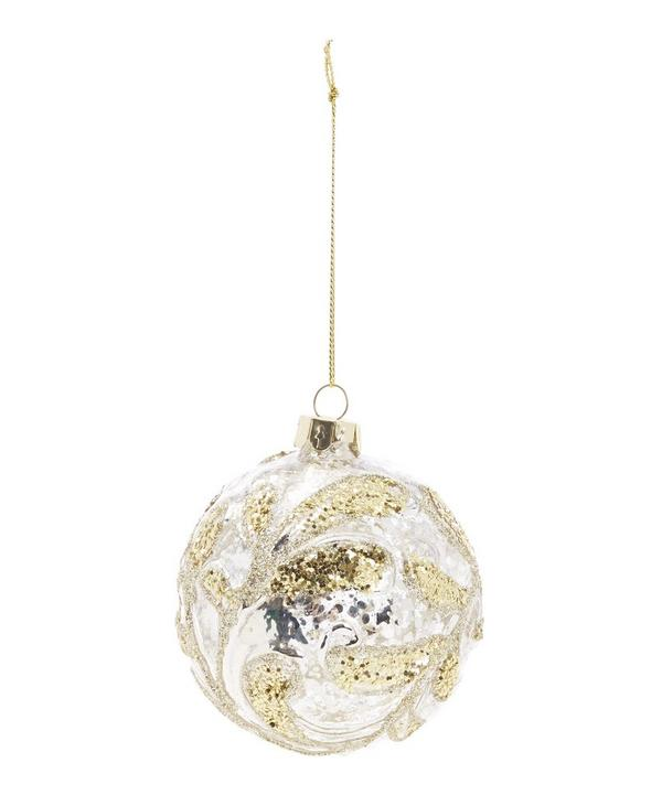 Antiqued Glass Bauble with Glitter Design