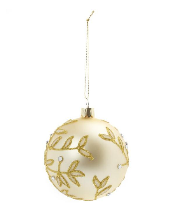 Glitter and Diamante Leaf Bauble