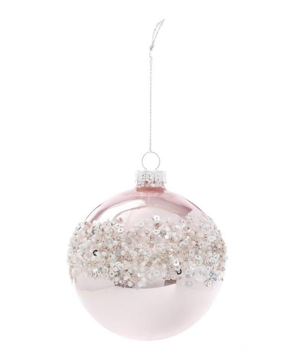 Embellished Pearlised Glass Bauble