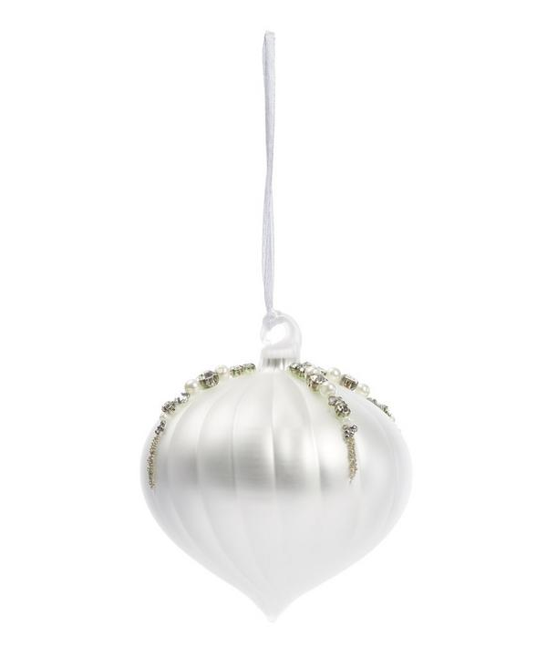 Frosted Sheen Ridged Beaded Sultan Decoration