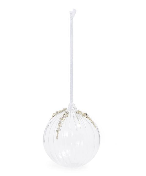 Beaded Glass Ridged Bauble