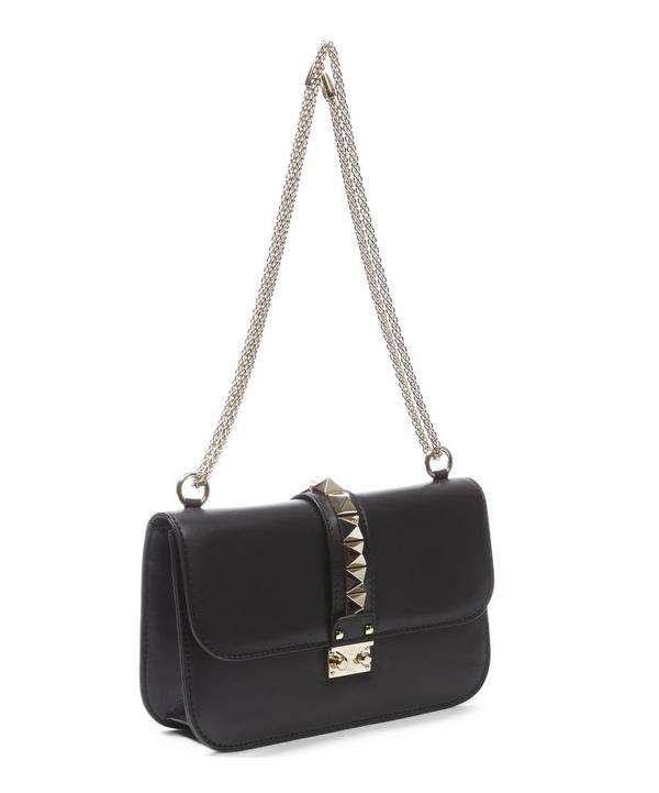 Leather Rockstud Lock Shoulder Bag