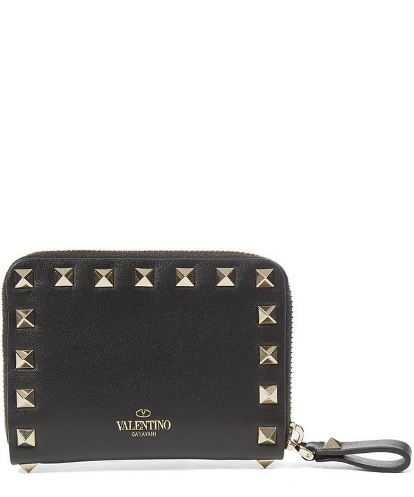 Leather Rockstud Zip Wallet