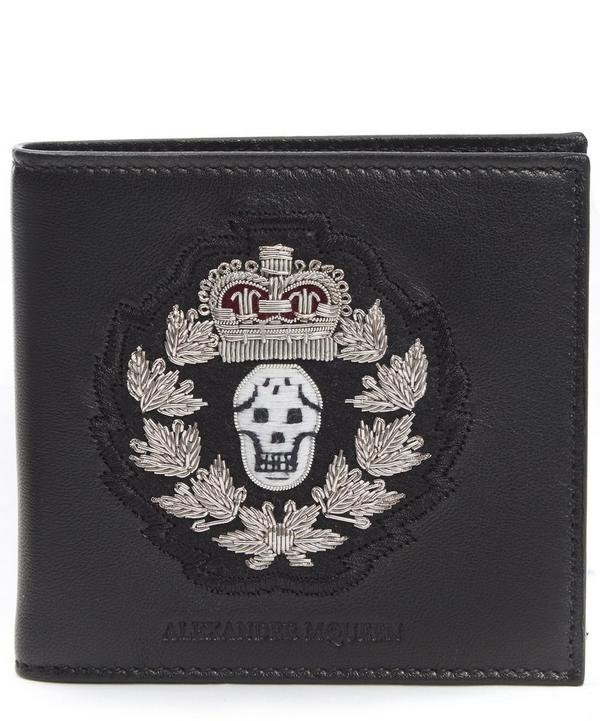 Badge Embroidered Billfold Wallet