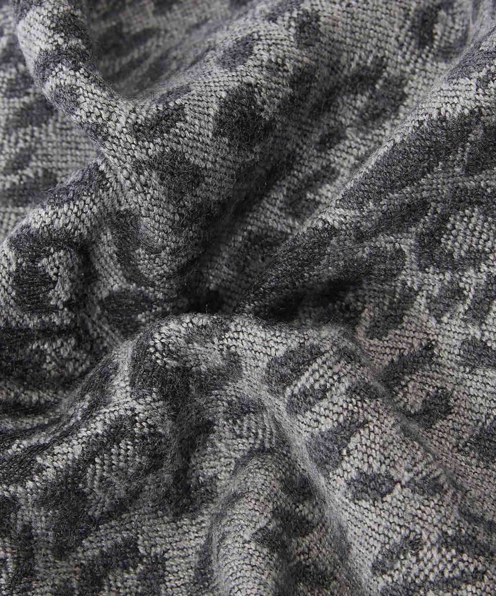 Leopard Skin Jacquard Tassel Scarf