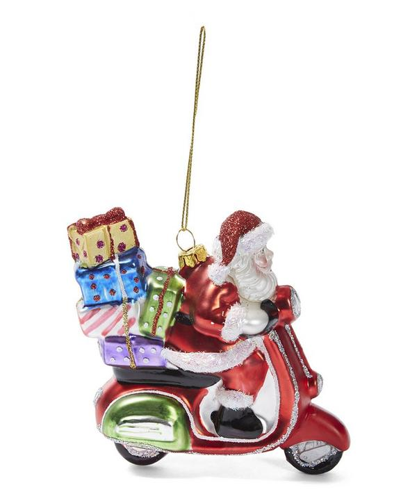 Santa On A Scooter Decoration