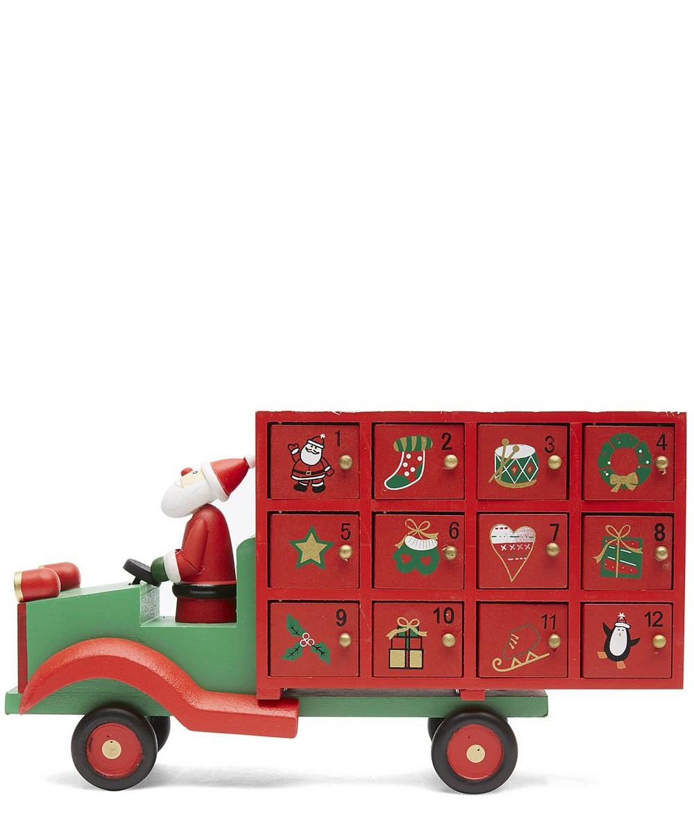 Wooden Santa Lorry Advent Calendar
