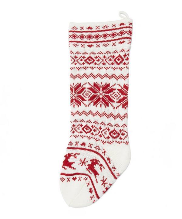 Scandinavian Fair Isle Knitted Stocking