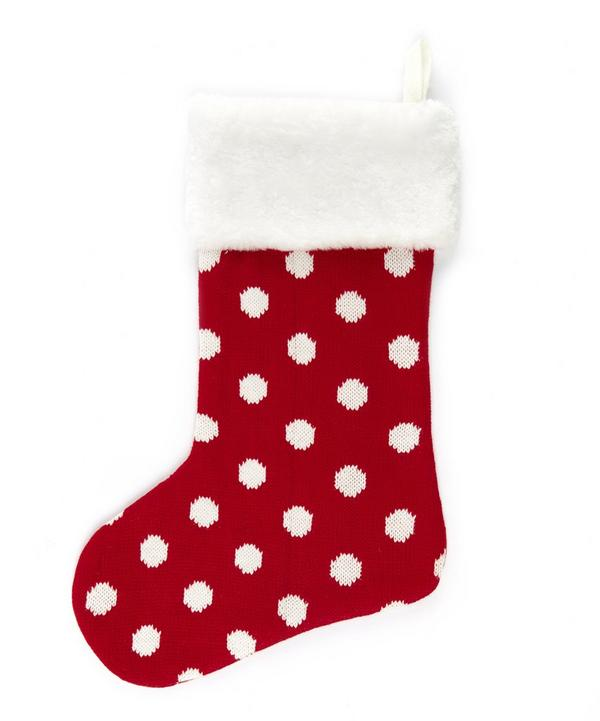 Spotted Fur Detailed Knitted Stocking