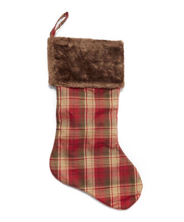 Fur-Trimmed Plaid Stocking