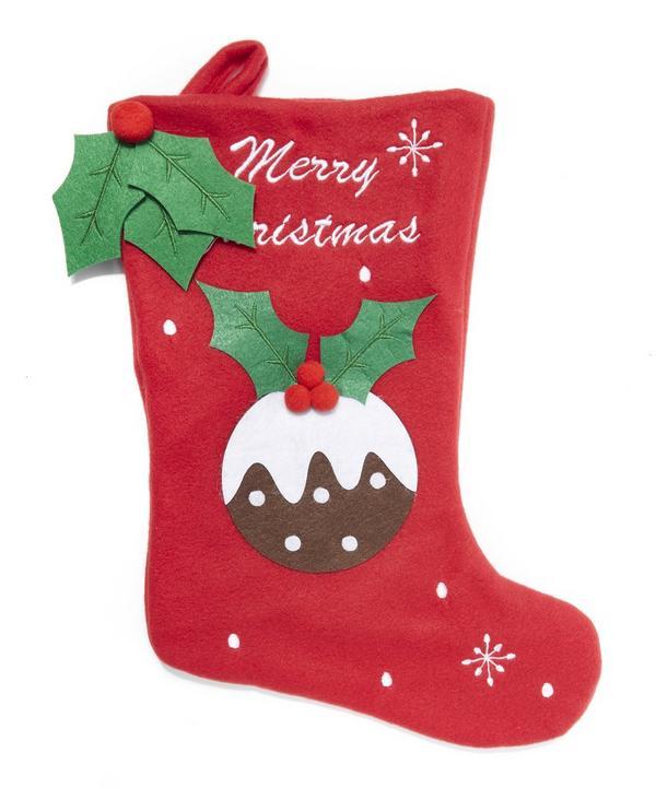 Christmas Pudding Felt Stocking