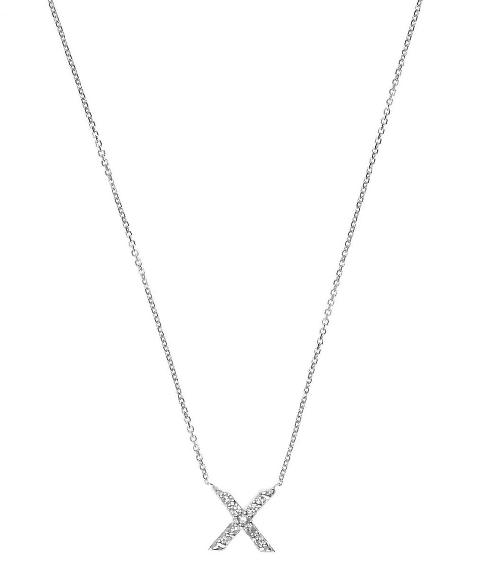 White Gold Diamond X Initial Necklace