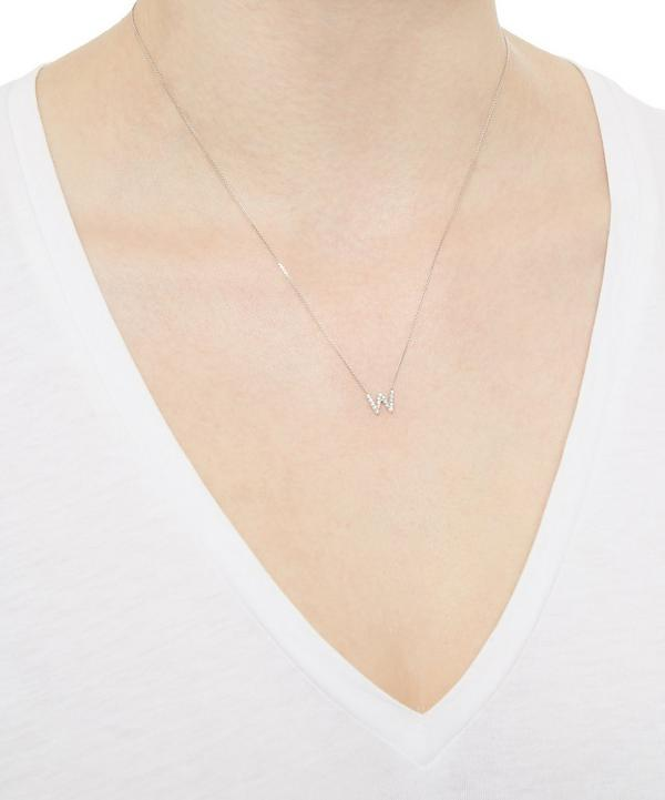 White Gold Diamond W Initial Necklace